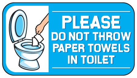 please do not throw paper towels in the toilet sign Ilustrace