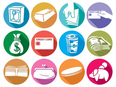 moneybag: money flat icons set (finance or banking icons, money bag, hand giving money, stack of coins, wallet, safe, bullion, credit card, old purse, piggy bank)