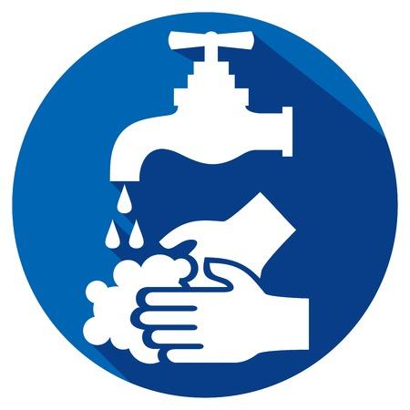 manos sucias: Por favor, lávese las manos icono plana