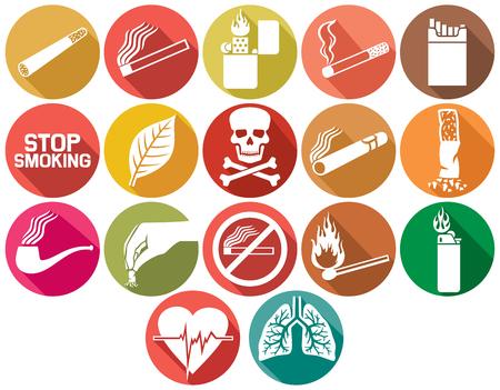 no fumar: iconos planos fumadores, situadas Vectores