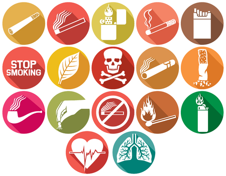 no smoking: smoking flat icons set Illustration