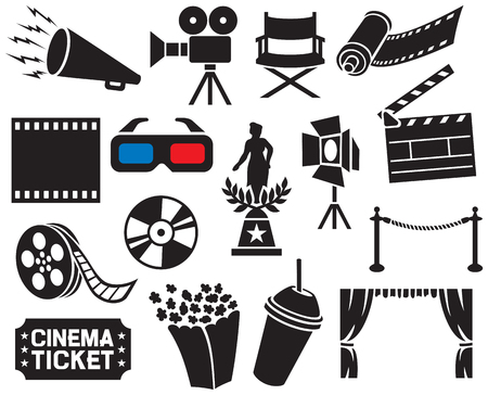 Colección de los iconos del cine (tira de película, palomitas de maíz, la tablilla del cine, cámara de cine, entrada de cine, silla de director de cine, dvd, cd, cámara de rollo de película, etapa proyector, premio de la película, gafas 3D, rollo de película)