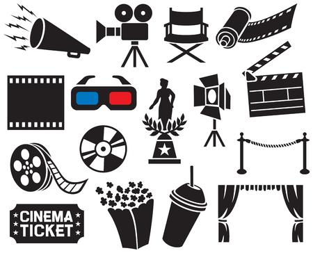 Sammlung Kino-Ikonen (Filmstreifen, Popcorn, Kino-Schindel, Filmkamera, Kinokarte, Regisseur Stuhl, DVD, CD, Kamerafilmrolle, Bühnenprojektor, Filmpreis, 3D-Brille, Filmrolle)