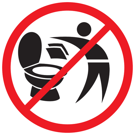 throw paper: please do not throw paper towels in the toilet sign Illustration