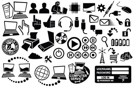 informática y comunicación icono iconos conjunto Ilustración de vector