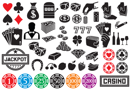 gambling: casino or gambling icons