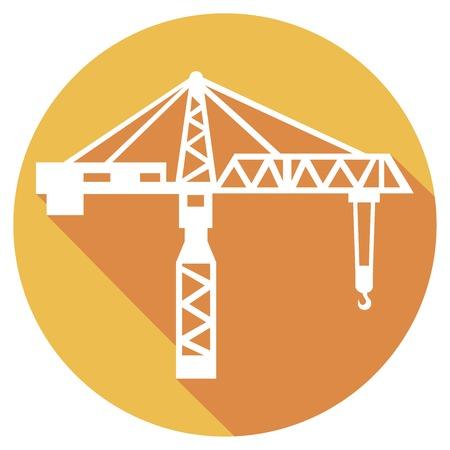 construction projects: building crane flat icon (tower crane symbol)