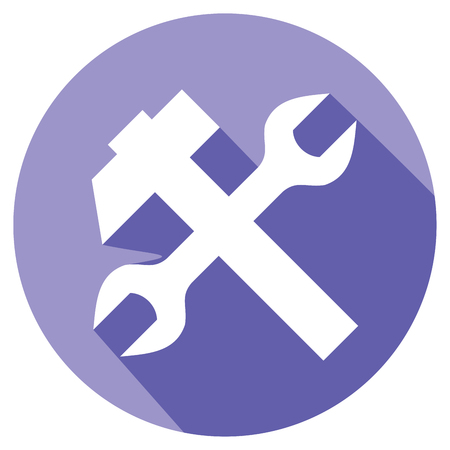 craftsmen repair: crossed wrench and hammer flat icon Illustration