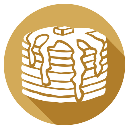 pancakes with butter and syrup flat icon
