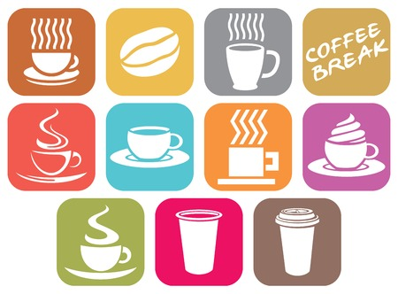 pause button: vector set of coffee design flat icons (coffee cups symbols)