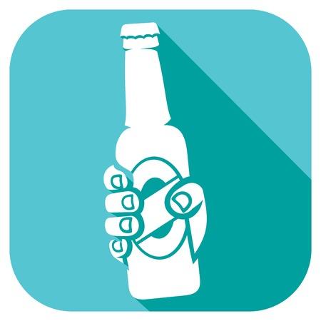 beer foam: hand holding a beer bottle
