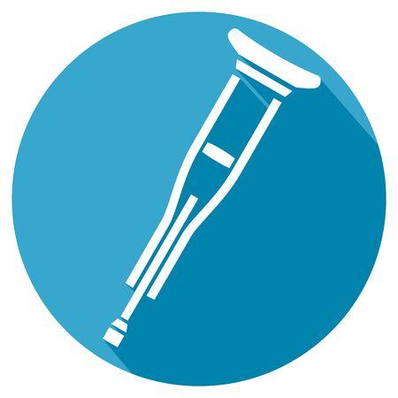 pierna rota: icono plana muleta Vectores
