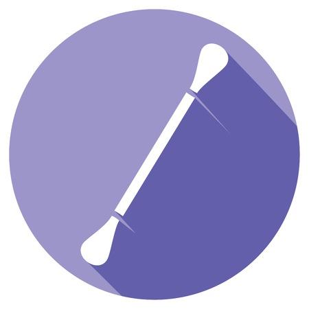 swab: ear swab flat icon ear pick, cotton stick, white cotton swabs