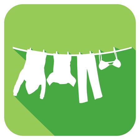 ropa colgada: ropa colgada en un icono plana tendedero