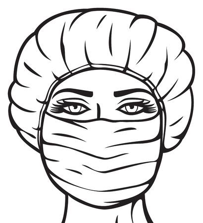 enfermera con cofia: m�dico de la mujer en la enfermera quir�rgica m�scara con la m�scara y la tapa, doctora en m�scara Vectores