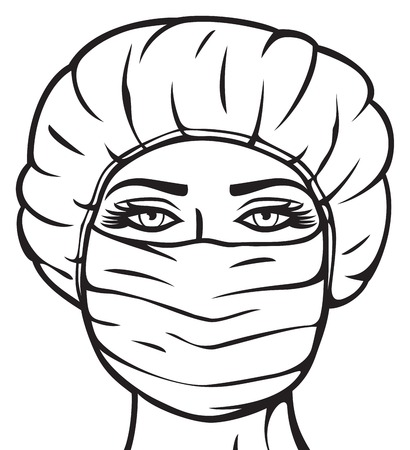 woman hygiene protection: woman doctor in surgical mask nurse with mask and cap, female doctor in mask