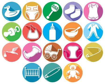 bébé icônes plates collection de couches bébé absorbant, vêtements pour bébés, bavoir de bébé, cigogne portant un bébé dans son bec, lit, hochets, goupille de sécurité, ours en peluche, chaussettes, biberon, bébé chariot pour enfants