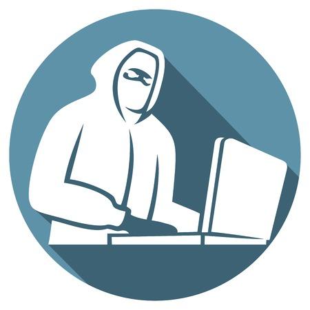 Komputer haker płaskim ikona