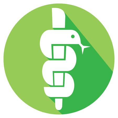 simbolo medicina: caduceo médico del símbolo de la serpiente con el palillo emblema plana icono de farmacia o medicina, símbolo de la farmacia, farmacia icono de la serpiente