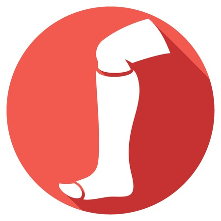 foot care: broken human leg in cast flat icon leg in bandage icon