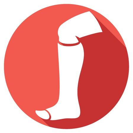 pierna humana rota en el elenco icono de la pierna plana en el icono de vendaje
