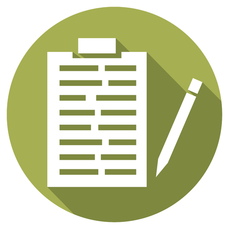 medical report: medical records and pencil flat icon medical report icon Illustration
