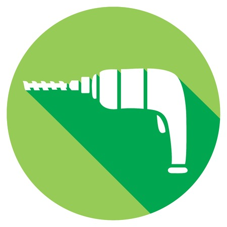 hole puncher: electric drill flat icon