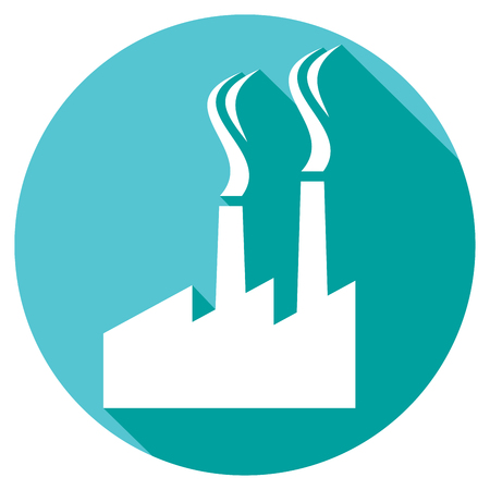 toxic emissions: industrial plant flat icon industrial buildings factory, industrial factory symbol