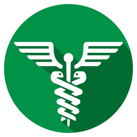 medical symbol: caduceus medical symbol flat icon symbol of pharmacy icon
