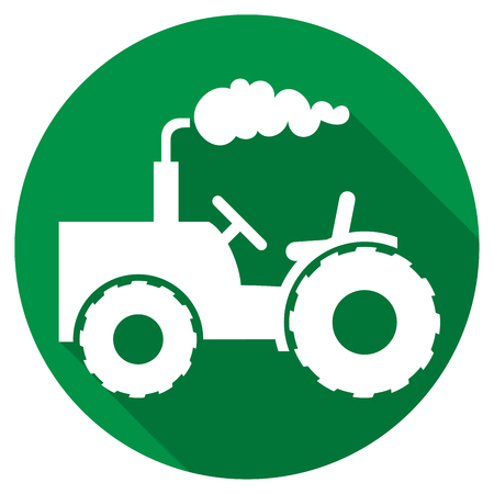 harrow: agricultural tractor flat icon Illustration