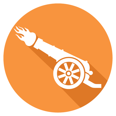 artillery: ancient cannon flat icon (old artillery cannon symbol) Illustration