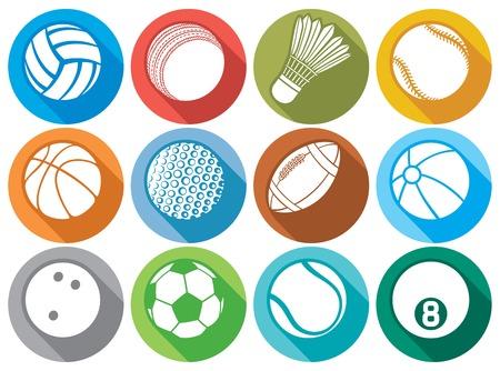 nba: sport ball flat icons (beach ball, tennis ball, american football ball, soccer ball, volleyball ball, basketball ball, baseball ball, bowling ball, cricket ball, badminton ball, billiard ball) Illustration