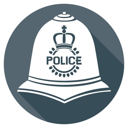 a helmet: british police helmet flat icon (british bobby police helmet sign) Illustration