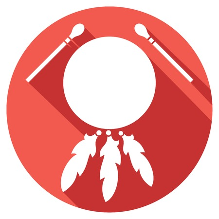 native american indian drum and sticks flat icon Illustration