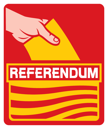 slot in: voting in the catalonia referendum - illustration of a ballot box (hand putting a voting ballot in a slot of box, hand voting icon)