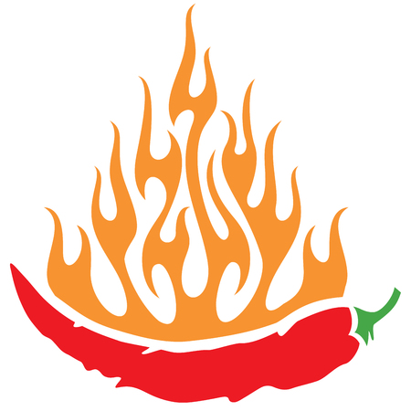 chili pepper with flames (hot chili pepper on fire) Illustration