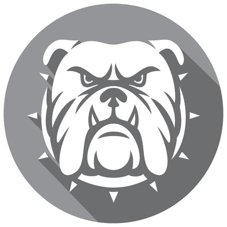 icono de la cabeza plana bulldog (bulldog enojado) Ilustración de vector