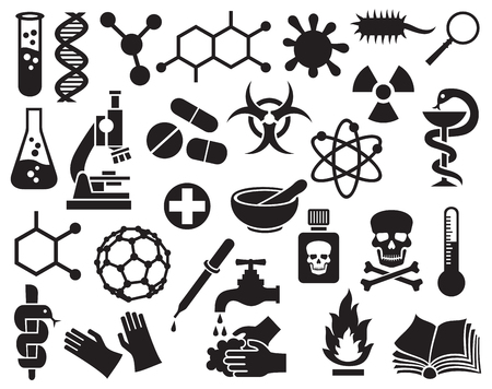 dna test: chemical icons set (science icons collection, molecular structures, test tube, radiation symbol, biohazard symbol, pills, dropper, pipette, skull danger sign, atom sign, bacterial cell, dna strand)