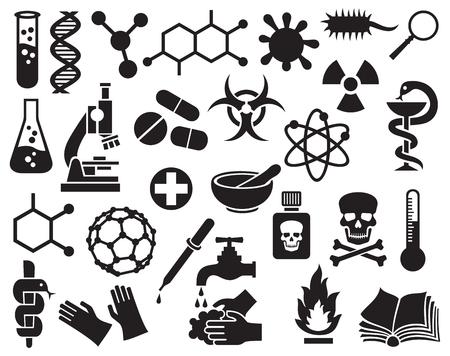 chemische pictogrammen instellen (wetenschap iconen collectie, moleculaire structuren, reageerbuis, stralings symbool, biohazard symbool, pillen, druppelaar, pipet, schedel gevaar teken, atoom teken, bacteriële cel, dna streng)