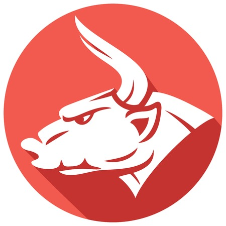red bull: bull head flat icon (red bull)