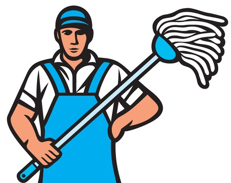 janitorial: man holding a mop