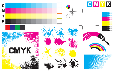 CMYK press marks (printing marks, printing color test) Stock Illustratie