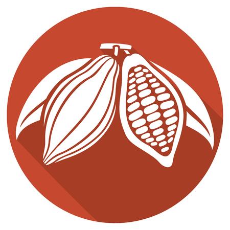Les fèves de cacao icône plat Banque d'images - 55512413