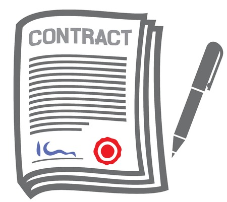 indenture: contract flat icon Illustration