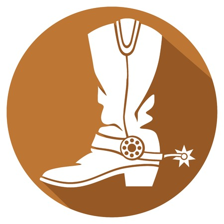 leather boots: cowboy boot flat icon Illustration