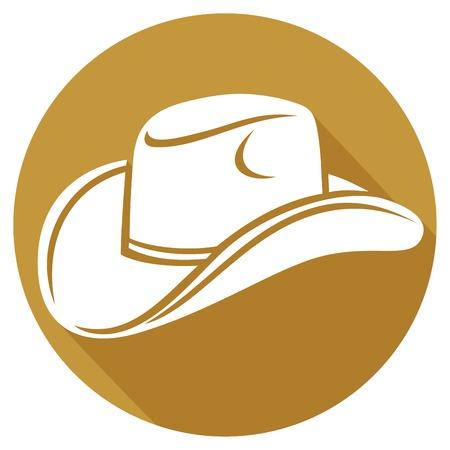 rodeo americano: sombrero de vaquero icono plana
