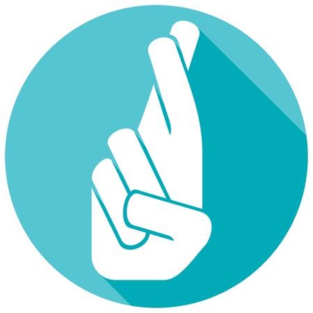 la mano con los dedos cruzados icono plana (dedos cruzados) Ilustración de vector