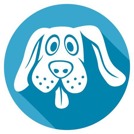 La cara del perro icono plana