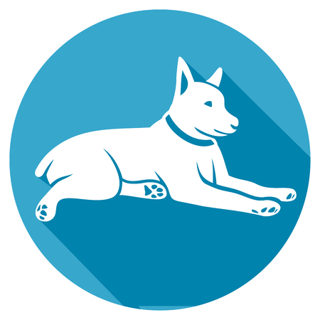 lay down: dog lay down flat icon (laying dog) Illustration