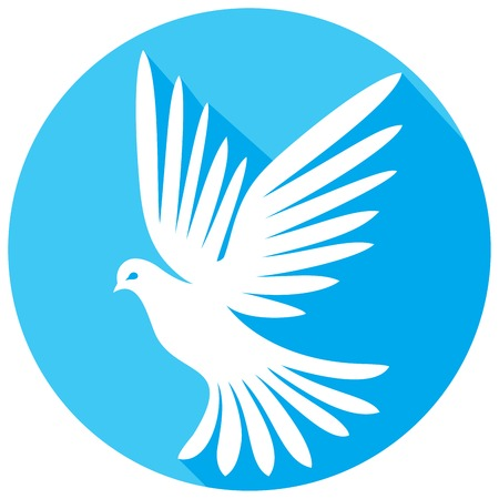 buttons: white dove flat icon
